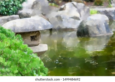 watercolor illustration: Pond in a Japanese garden with a traditional stone lantern in the foreground, low depth of field