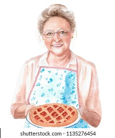 watercolor illustration of a portrait of a gray-haired grandmother or aunt from the village in an apron with a pie in her hands, a drawing of a woman's cook