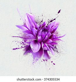 watercolor illustration purple flower, spray paint, closeup isolated on white background