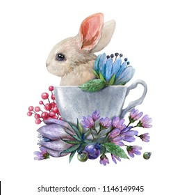 Watercolor illustration with a rabbit in a cup and flowers. Excellent for the design of postcards, posters, stickers and so on.
