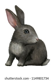 Watercolor illustration of a rabbit. Excellent for the design of postcards, posters, stickers and so on.