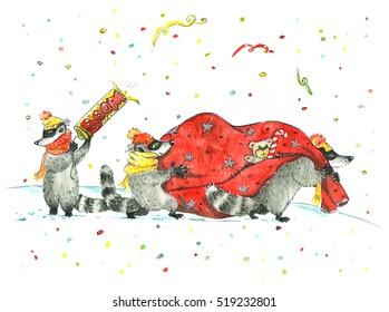 Watercolor illustration of raccoons stealing Santa's bag