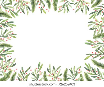 Watercolor illustration. Ready to use vertical xmas frame. Perfect for invitations, greeting cards, prints, packaging  and more. Merry christmas and happy new year