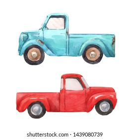 Watercolor illustration of a red and blue pickup, retro car