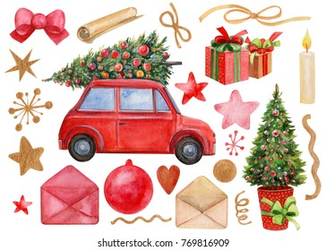 watercolor illustration, red car and tree, Christmas decorations