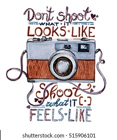 Watercolor illustration - Retro camera with quote