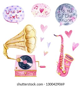 Watercolor illustration of retro music instruments with flowers and hearts. Retro gramophone and pink saxophone. Romantic speec bubbles
