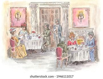 Watercolor illustration retro people drink tea in the aristocratic room.
