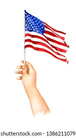 Watercolor illustration of Right hand holding a small American flag in honor of U.S. independence day