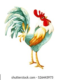 watercolor illustration of rooster; symbol of 2017 year; cartoon character