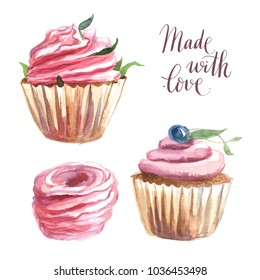Watercolor illustration. Rose capcake with flower and berry and the marshmallows isolate on white background. Text lettering made with love