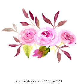 Watercolor illustration roses sketch pink flowers on white background. Line, composition, bouquet, design, decoration, love, romantic, wedding, woman, girl.