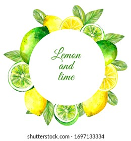 Watercolor illustration. Round frame template with white background. Frame with lime and lemon, whole and sliced fruits. Summer template in yellow-green color.