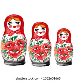 watercolor illustration of Russian Matryoshka stacking dolls