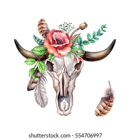 watercolor illustration, rustic cow skull, flowers and feathers, floral clip art, bouquet, boho design elements, isolated on white background