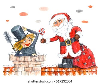 Watercolor illustration of Santa and a chimney sweep