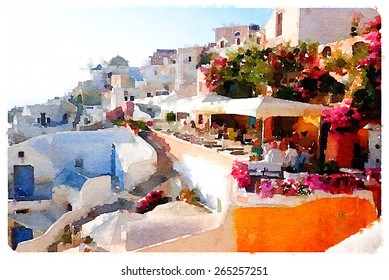 watercolor illustration santorini scene