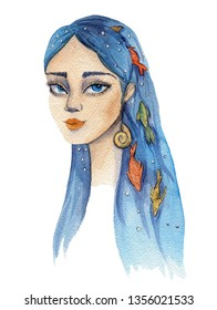 A watercolor illustration of a sea girl with blue hair and colorful fish in it