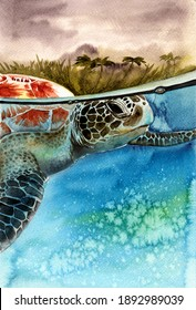 Watercolor illustration of a sea turtle swimming under a turquoise wave with a shore with palm trees in the background