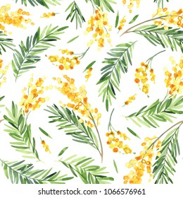 Watercolor illustration. Seamless background of yellow mimosa flower for wedding card, poster, postcard.