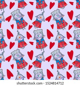 watercolor illustration, Seamless pattern, beautiful Halloween cute one-eyed monsters in red dresses with blue bows and red hearts on purple background