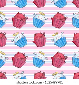 watercolor illustration, Seamless pattern, beautiful Halloween cute cakes in the form of angel and devil on pink blue background