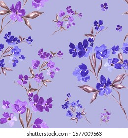 "Watercolor illustration, seamless pattern. ""Beautiful flowers on the branches."" In blue and violet colors. For printing on textiles, wrapping paper, postcards and for other purposes."