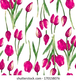 Watercolor illustration seamless pattern of  beautiful pink tulip buds flowers
