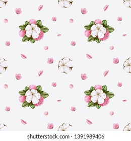 Watercolor illustration. Seamless pattern. Cotton flower and peonies flower background