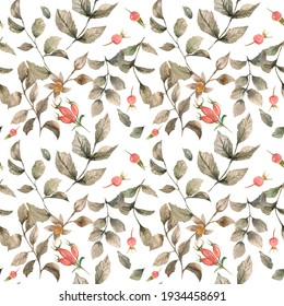 Watercolor illustration. Seamless pattern on a white background with leaves, eyelids and rose hips. Natural seamless design for fabric, paper, etc.