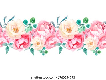 Watercolor illustration. Seamless pattern of pink blooming peony buds with green foliage. Floral seamless border for frames, prints, fabrics, etc.