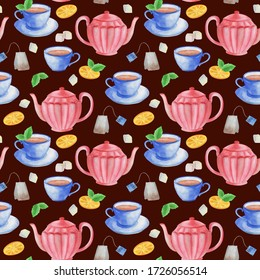 watercolor illustration, seamless pattern, tea with lemon, sugar, candy, ornament for wallpaper and fabric, wrapping paper
