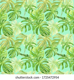 Watercolor illustration seamless pattern of tropical leaf monstera. Perfect as background texture, wrapping paper, textile or wallpaper design. Hand drawn