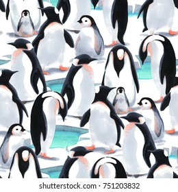 Watercolor illustration. Seamless pattern witn penguin's flock  on the snow
