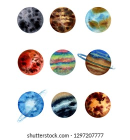 Watercolor illustration set of assorted planets of Solar system Mercury, Venus Earth, Mars, Jupter, Saturn, Uranus. Neptune, Pluto and Sun Colored
