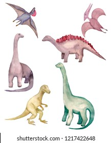 Watercolor illustration. The set consists of six dinosaurs. Historical reptiles are represented by pterosaur, diplodocus, teronozavr, stegosaurus. The picture is made in bright colors, brown, purple,