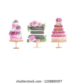 Watercolor Illustration Set of Cream Cakes. Perfect Illustration for Wedding or Greeting Cards