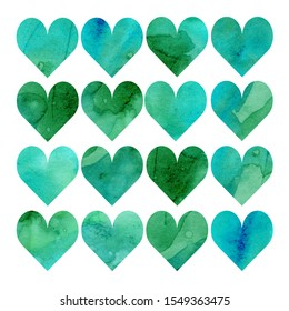 Watercolor illustration, set. Heart shaped watercolor texture. Shades of green, blue, mint and turquoise
