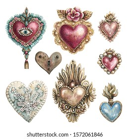 Watercolor illustration set of hearts in vintage style. Hearts with embroidery, precious stones, traditional Mexican hearts. Collection of hand-drawn hearts isolated on a white background.