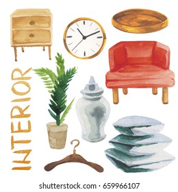 Watercolor illustration set of home interior furniture such as sofa, tray, clock, pillows, vase, plant etc. Isolated on white background