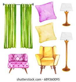 Watercolor illustration set of home interior furniture such as sofa chair, lamp, pillow and curtain isolated on white background
