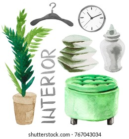 Watercolor illustration set of home interior furniture such as sofa, clock, pillows, vase, plant etc. Isolated on white background
