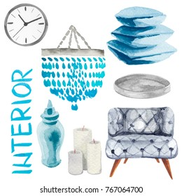 Watercolor illustration set of home interior furniture such as sofa, clock, blue pillows, vase, candles etc. Isolated on white background