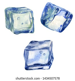 Watercolor illustration, set. The image of ice. Ice cubes for drinks, cocktails.