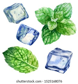 Watercolor illustration, set. An image of mint. Mint leaves. The image of ice. Ice cubes for drinks, cocktails