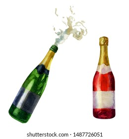 Watercolor illustration set. An open bottle of champagne, pouring foam and a red bottle of champagne, sparkling wine.