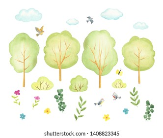 watercolor illustration set with trees, nature, flowers, birds isolated on white. Vintage country background with summer landscape. clip arts