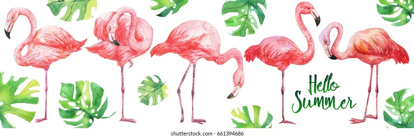 Watercolor illustration set of tropical leaves, dense jungle, flamingo bird. Tropic summertime motif.