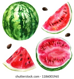 Watercolor illustration, set. Watermelon, half a watermelon, a piece of watermelon, a slice of watermelon