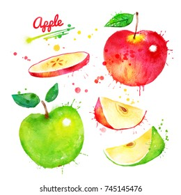 Watercolor illustration set of whole and sliced red and green apples with paint splashes.